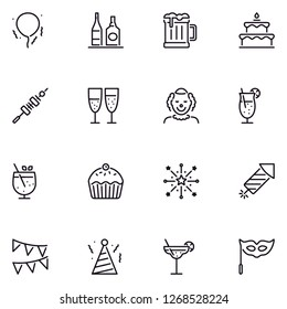 Celebration party detailed linear icon set EPS 10 vector format. Transparent background.