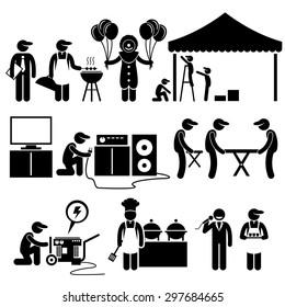 Celebration Party Festival Event Services Stick Figure Pictogram Icons