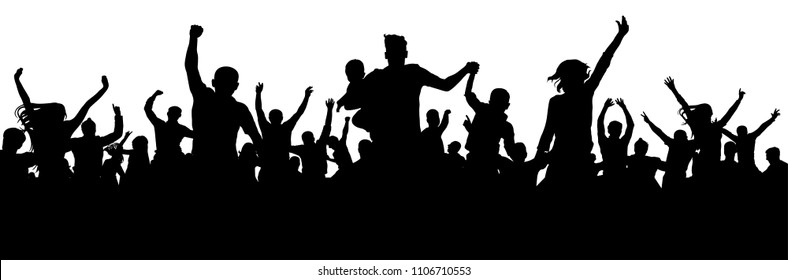 Celebration people silhouette. Crowd concert party audience. Soccer cheer fan goal. Cheerful crowd vector