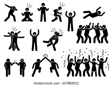 Celebration Poses and Gestures. Artwork depicts people celebrating in various styles such as dabbing, fist pump, chest bump, raising hand, high five, throwing person in the air, and group celebration.