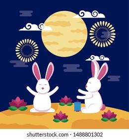 celebration rabbits decoration mid autumn festival vector illustration