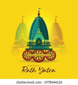celebration of Rath Yatra festival (locally called Ratha Yatra) is the worship of Lord Jagannath ( hindu god), illustration vector