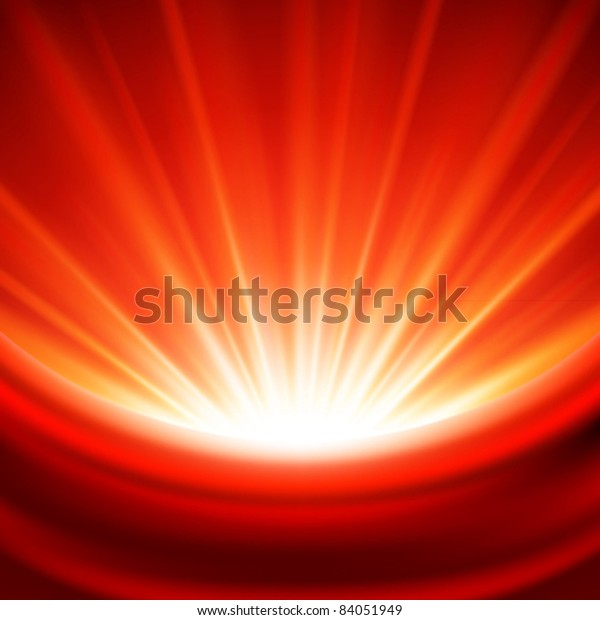 Celebration red lights rays magic glow background with silk textile and place for text vector illustration. Good for decoration web site banner or greeting card and poster design.