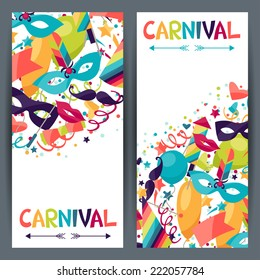 Celebration seamless pattern with carnival icons and objects.