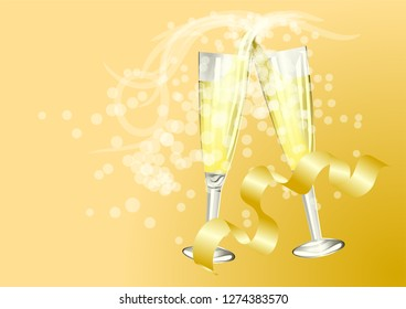 Celebration Toast With Champagne on golden background