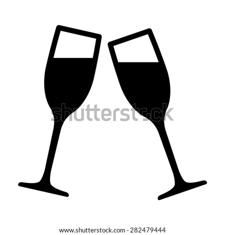 celebration toasting or new year toast flat vector icon for apps and websites