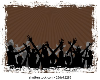 Celebration-Silhouette of a group people on brown background
