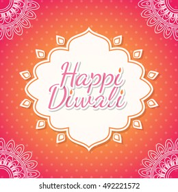 Celebratory background with paisley pattern, rangoli and beautiful frame for Indian Festival of Lights. Happy Diwali. Vector illustration.