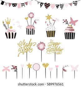 Celebratory cakes with set of decorations, toppers, candles and garlands with flags. Vector hand drawn illustration, scandinavian style in mint colors with gold glittering elements and text.