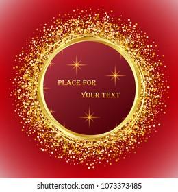 Celebratory design element Golden shiny circles on a red background Golden shiny