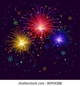 celebratory firework against the black sky, vector