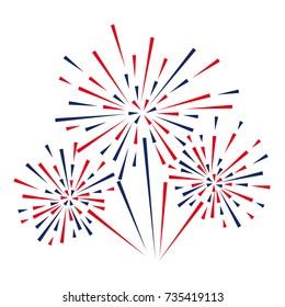 Celebratory fireworks on a white background