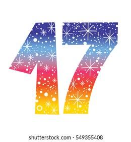 celebratory number seventeen for birthdays anniversaries celebrations