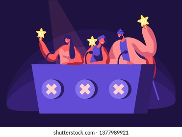 Celebrities Judging Participants during Entertainment on Talent Show or Artists Stage Audition. Judges Voting with Golden Star in Hands. Popular Show of Gifted Artists Cartoon Flat Vector Illustration