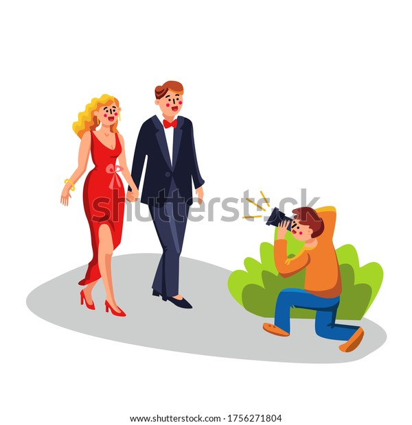 Celebrities Photograph Paparazzi From Bush Vector. Photographer Journalist Man Shooting Photo With Flash By Camera Celebrities Couple. Characters Photography Flat Cartoon Illustration