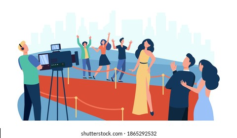 Celebrities posing to paparazzi and walking along red carpet isolated flat vector illustration. Cartoon people greeting famous movie star. Fashion show and entertainment concept - Shutterstock ID 1865292532