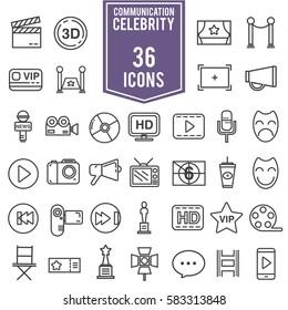 celebrities universal movie vector icons line colour big set, EPS10