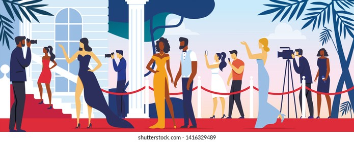 Celebrities Walking along Red Carpet, Posing to Paparazzi and Fan Photographing on Camera and Smartphones. Movie Festival, Party for Famous People, Fashion Stars Show Cartoon Flat Vector Illustration.