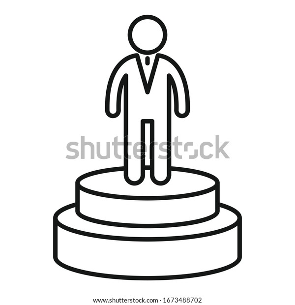 Celebrity actor podium icon. Outline celebrity actor podium vector icon for web design isolated on white background