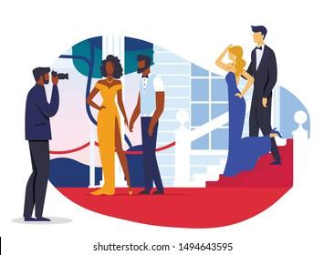 Celebrity Couples Photoshoot Vector Illustration. Young Famous Men and Women Cartoon Characters. VIP Pairs, Movie Stars in Fashionable Clothing Posing for Photographer. Prestigious Event Guests - Shutterstock ID 1494643595