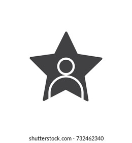 Celebrity icon vector, filled flat sign, solid pictogram isolated on white. Person in a star symbol, logo illustration.