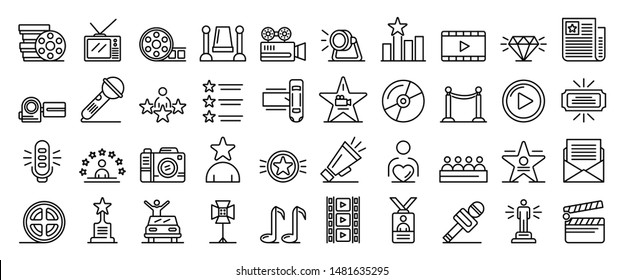 Celebrity icons set. Outline set of celebrity vector icons for web design isolated on white background