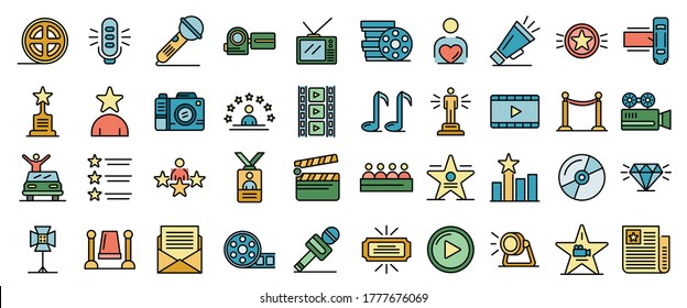 Celebrity icons set. Outline set of celebrity vector icons thin line color flat on white - Shutterstock ID 1777676069