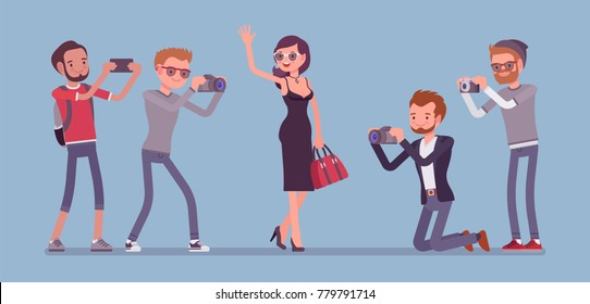 Celebrity and journalists. Young female elegant star, famous and well-known person, newspaper or magazine men photographing her, mass media gathering hot news. Vector flat style cartoon illustration