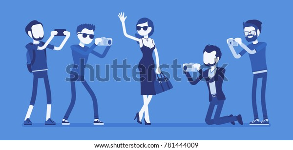 Celebrity Journalists Young Female Elegant Star Stock Vector