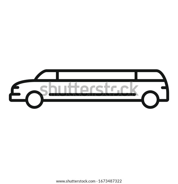 Celebrity limousine icon. Outline celebrity limousine vector icon for web design isolated on white background