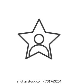 Celebrity line icon, outline vector sign, linear style pictogram isolated on white. Person in a star symbol, logo illustration. Editable stroke