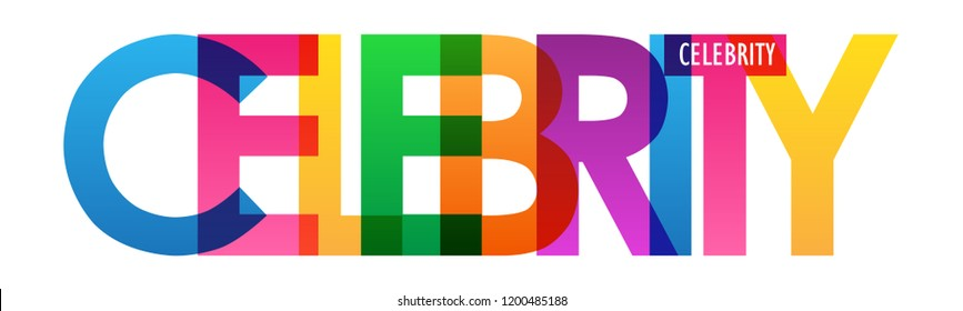 CELEBRITY rainbow letters banner