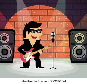 Celebrity rock star on stage with guitar and microphone vector illustration