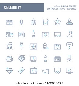 Celebrity - simple outline icon set. Editable strokes and Layered (each icon is on its own layer with proper name) to enhance your design workflow.