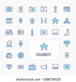 Celebrity - thin line website, application & presentation icon. simple and minimal vector icon and illustration collection.