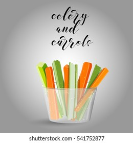celery and carrots sticks. Raw food. Vector illustration.