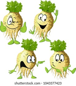 Celery cartoon with face and hand gesture - vector illustration