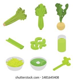 Celery icons set. Isometric set of celery vector icons for web design isolated on white background