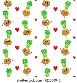 Celery, vector seamless pattern with cute vegetable characters isolated on white with hearts