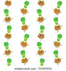 Celery, vector seamless pattern with cute vegetable characters isolated on white
