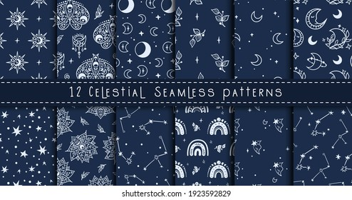 Celestial black and white moon, rainbow, stars seamless pattern bundle - hand drawn line space digital paper, cute kids starry seamless background for textile, scrapbooking, wrapping paper