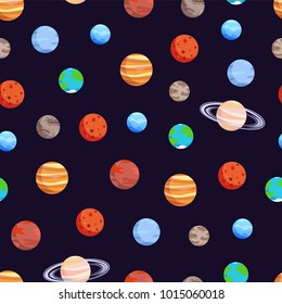 Celestial bodies collection, poster with seamless pattern and planets, Jupiter and Uranus, Earth and Pluto, vector illustration isolated on black