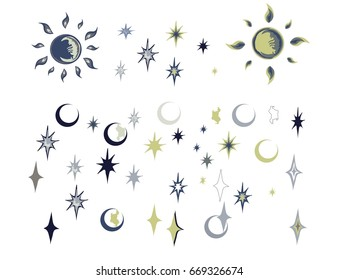 Celestial bodies, moon, stars - a set of illustrations. Elements of vector design.