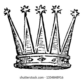 Celestial Crown from any other crown by the stars on the points, vintage line drawing or engraving illustration.