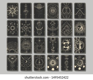 Celestial designs in vintage engraving style.