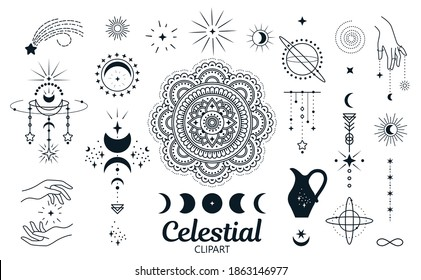 Celestial, magic clipart. Isolated vector set of decorative elements for cards, prints, stickers, posters, shirts and more.