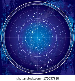 Celestial Map of The Night Sky. Astronomical Chart of Northern Hemisphere. (Ultraviolet Blueprint version EPS-8).