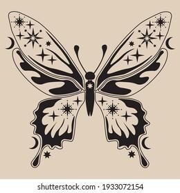 Celestial moth line art illustration. Beautiful moth illustration. Vector celestial.