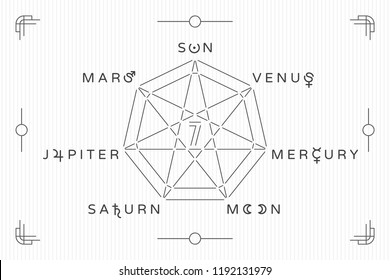 Celestial Objects as Days of the Week Heptagon Seven Trendy Style Logos with Moon Mars Mercury Jupiter Venus Saturn Sun Lettering and Astrological Signs Symbols Vector Design