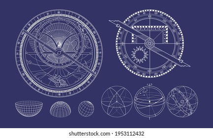 The celestial sphere in isometry. Astrolabe and quadrant. Astronomy and mathematics.
